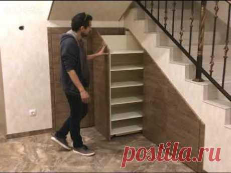 Шкаф под лестницей с гардеробом и обувными тумбами (Стоимость 87.000)