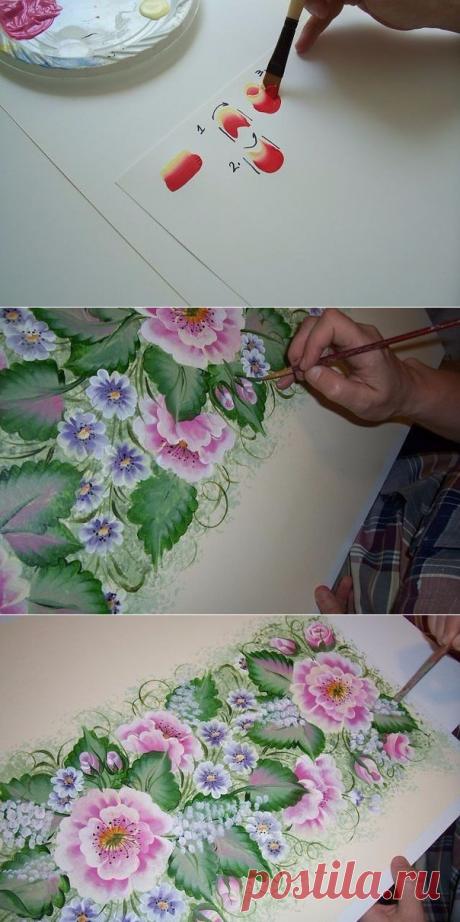 Рисуем цветы акриловыми красками