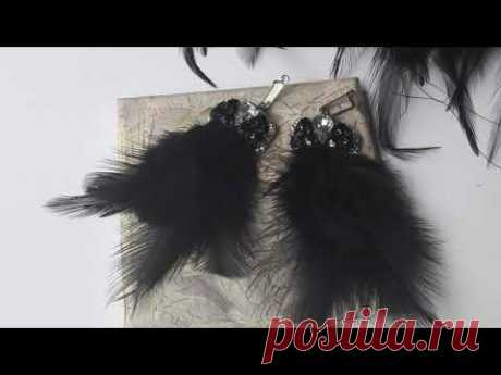 Must have! Такие серьги обязательно должна иметь каждая модница! Черные перья со стразами!