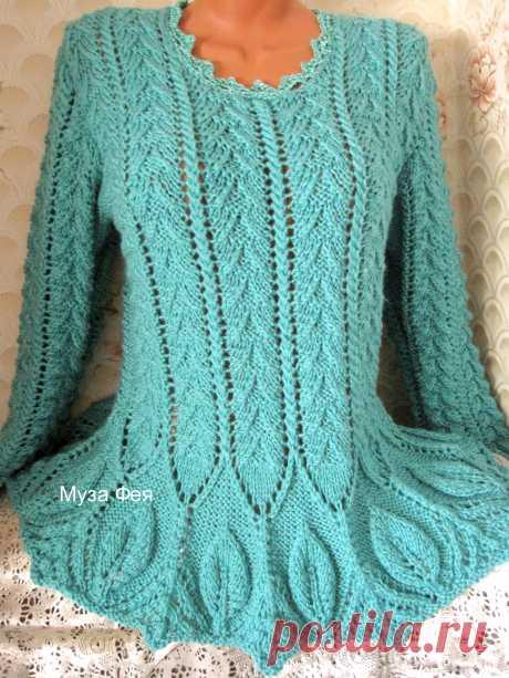 """Пуловер с листиками Пуловер связан из п/ш пряжи """"Бриллиант"""" в две нити. Получился мягким, пышным и очень теплым."""
