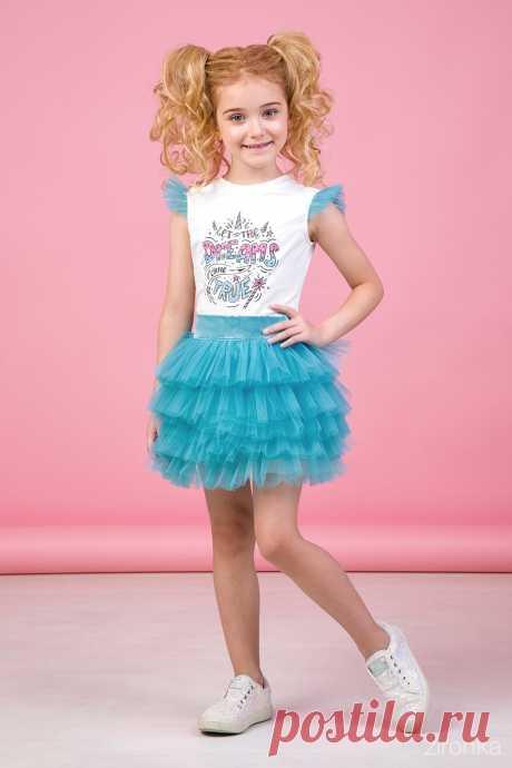 Комплект (футболка, юбка) бирюзовый для девочки 64-9018-6