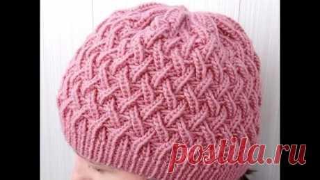 Вязание шапочки спицами узором Танцующая Резинка