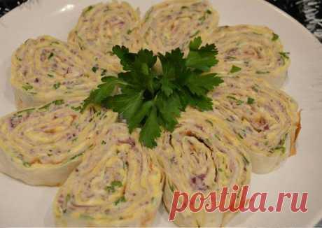 Рулетик из лаваша с сыром и ветчиной Автор рецепта Наталия Рочева - Cookpad