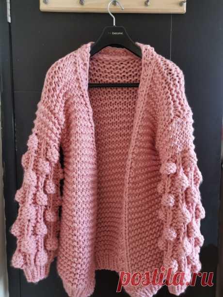 Женский вязаный кардиган с длинными рукавами-фонариками, повседневный теплый вязаный кардиган, свитер-шаль, зима-весна | АлиЭкспресс