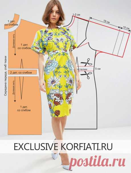 Pattern of a summer dress with sleeves from Anastasia Korfiati Vykroyka of a summer dress with sleeves. This stylish bright dress with a flower print is simply created for summer! The model is made of thin sateen with soft
