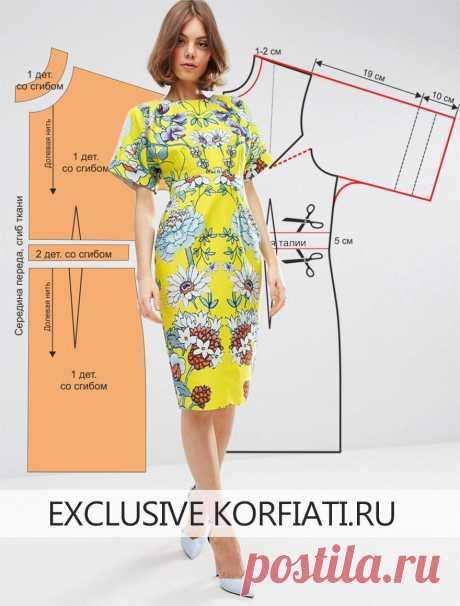 Выкройка летнего платья с рукавами от Анастасии Корфиати Выкройка летнего платья с рукавами. Это стильное яркое платье с цветочным принтом просто создано для лета! Модель выполнена из тонкого сатина с мягким