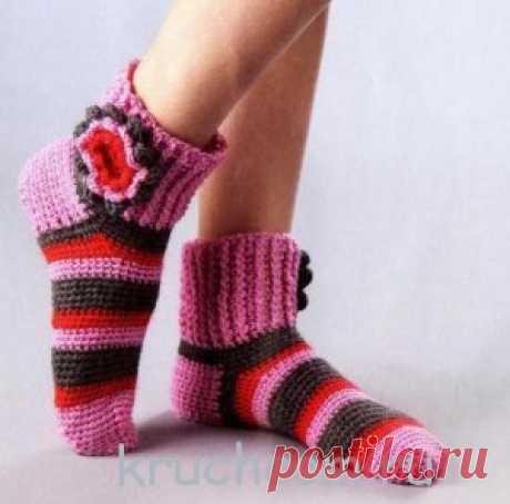 Носки в полоску с цветами   Вязание крючком, схемы вязания, бесплатное вязание крючком