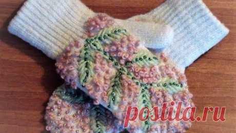 Вышивка на варежках.Часть1 Embroidery on mittens.Part1