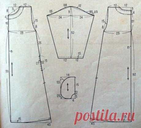 Платье свободного кроя, расширенное книзу, с карманами в боковых швах. Выкройка на 48-52 размеры #ШьемСебе #выкройка #платье