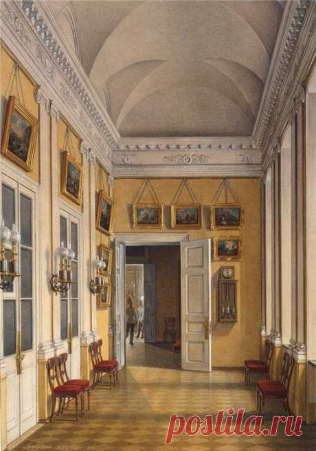 """Interiors of the Winter Palace. The Room between the Small Fieldmarshals Hall and the War Gallery\"" by Edward Petrovich Gau (1807-1887)"