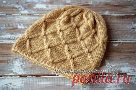 Вязание спицами. Шапка с удлиненной макушкой рельефным узором.: lvica_a
