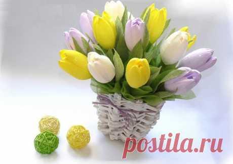 Букет тюльпанов из конфет. Фото-МК