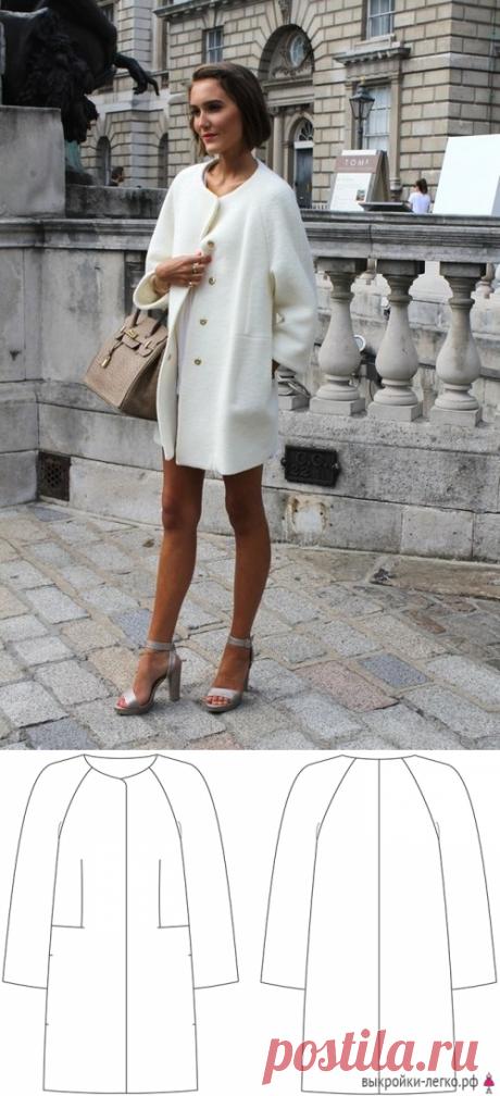 Готовая выкройка легкого пальто-кокона | Выкройки онлайн и уроки моделирования