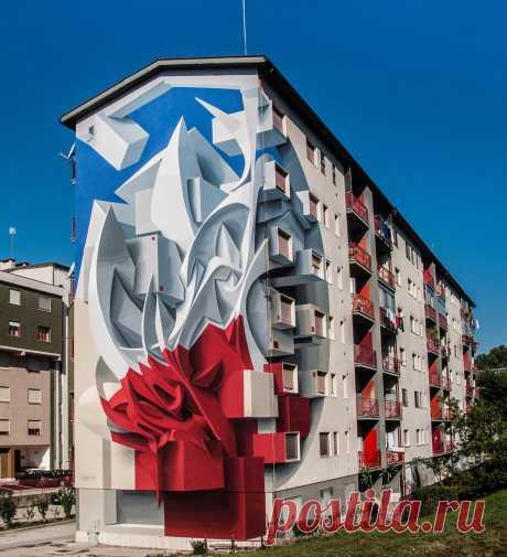 Итальянский художник создаёт трёхмерные фрески, визуально изменяющие пространство города
