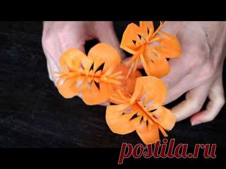 Handmade Carrot Butterfly | Vegetable Carving Garnish | Food Decoration | Party Garnishing