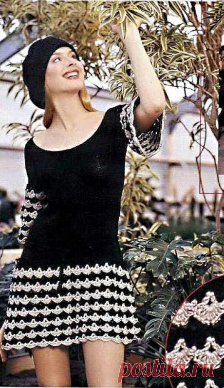 Вяжем черно-белые платья крючком – 4 моделей со схемами и описанием, МК видео смены цвета пряжи