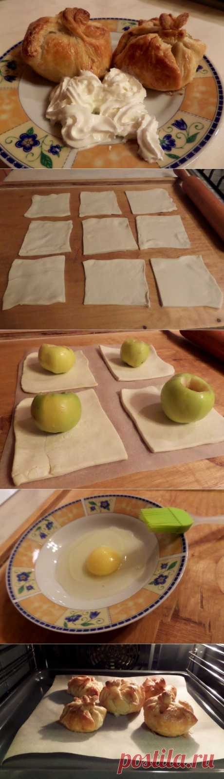 Яблоки «в мешочке». Вам понадобится: 1. Яблоки — 12 штук небольших (идеально подойдут не кислые сорта домашних яблок 2. Слоеное тесто (1 упаковка) 3. Мед — 4 стол. ложки 4. Корица