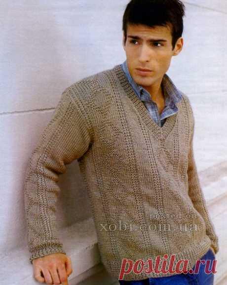 вязаный мужской пуловер с V-образным вырезом