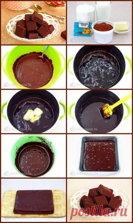 Домашний шоколадный щербет  Сахар-песок - 2 ст. Молоко - 1 ст. Масло сливочное - 50 г Какао-порошок - 75 г Сахар ванильный - 10 г