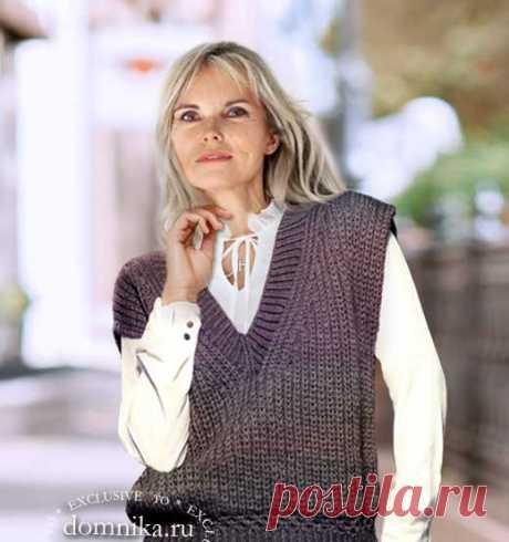 Классический вязаный жилет английской резинкой для женщин старше 60 лет