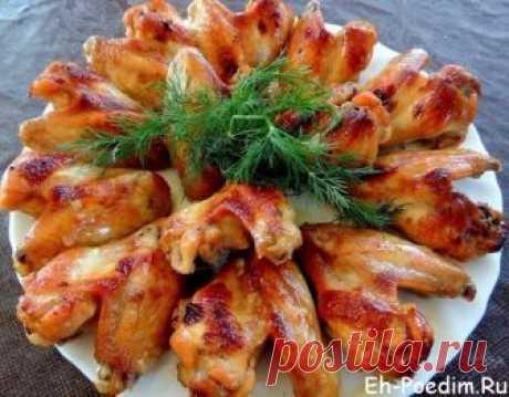 Куриные крылышки в духовке с корочкой под майонезом