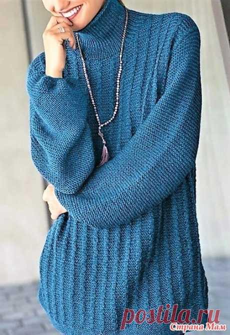 Удлинённый свитер, связанный простым узором.. Спицы. - ВЯЗАНАЯ МОДА+ ДЛЯ НЕМОДЕЛЬНЫХ ДАМ - Страна Мам