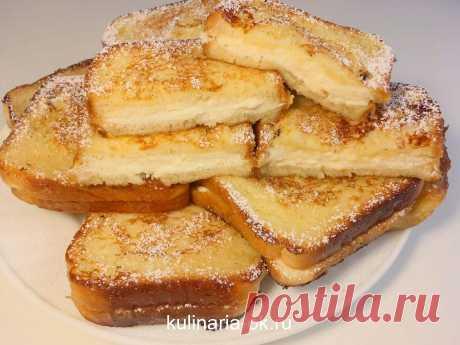 Пару минут и вкуснейший завтрак готов!!! Берите рецепт на заметку Ингредиенты: Батон — 1 шт Сырок творожный — 3 шт Яйцо куриное — 2 шт Молоко — 250 мл Масло растительное — 4 ст. л. Сахарная пудра — 2 ст. л. Ванильный