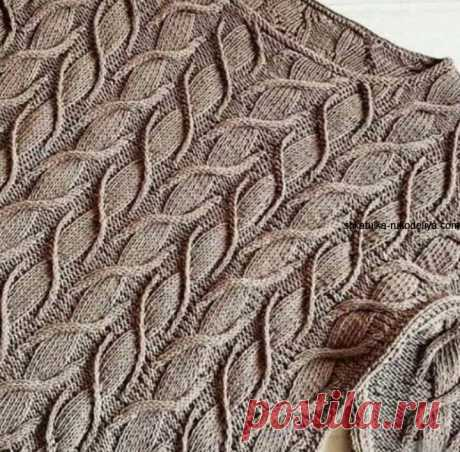 Необычный узор спицами от Norah Gaughan. Очень красивый и легкий узор спицами зыбучий песок+схемы Детали джемпера с узором из кос вяжутся спицами снизу вверх и затем сшиваются. После соединения пле…