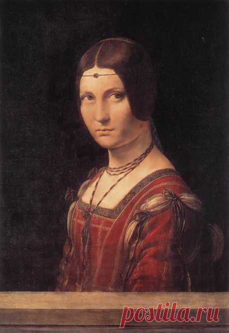 Портрет Неизвестной   ( ??Ла Белл Феррониер)  ~1490, деревo,масло, 63x45cм,Лувр,Париж