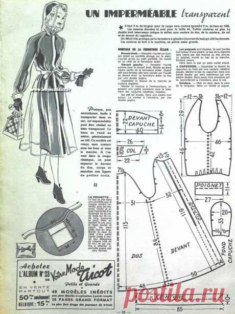 ПЛАЩ (расход ткани 2,4м при шир .140 см.)