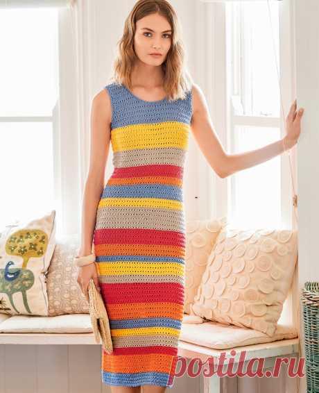 Платье в цветную полоску - схема вязания спицами с описанием на Verena.ru