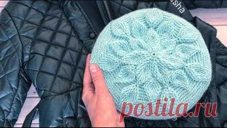 "Берет крючком узором ""Листья""//Crochets a pattern of ""Leaves""//Часть - 1"