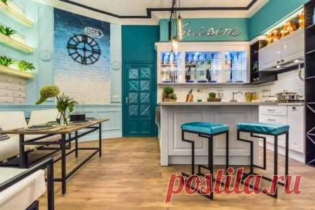 Крашенные стены на кухне: серые, бежевые, белые, голубые, зеленые, бордовые и другие