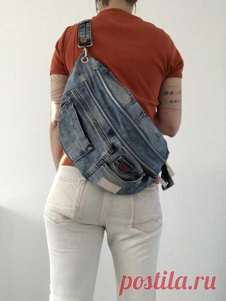 Джинсовая сумка через плечо | Etsy