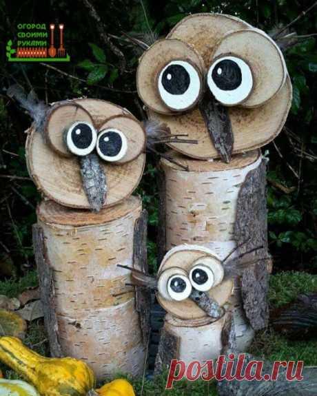 Неповторимые изделия из спилов дерева для дачи и сада   #сад  #идеи