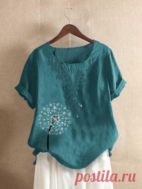 Повседневная футболка с короткими рукавами и цветочным принтом для Женское Ваш друг поделился с вами модным сайтом и дает вам скидку до 20%! требуй это сейчас.