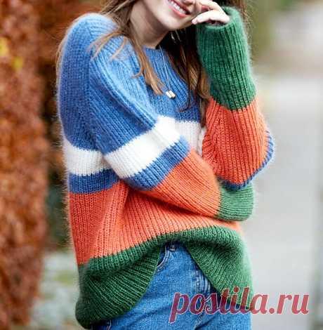 Модные джемперы с геометрическими вставками разных оттенков (с описанием вязания) | Идеи рукоделия | Яндекс Дзен