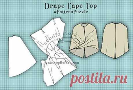 Перекрученный кейп (выкройка) Модная одежда и дизайн интерьера своими руками