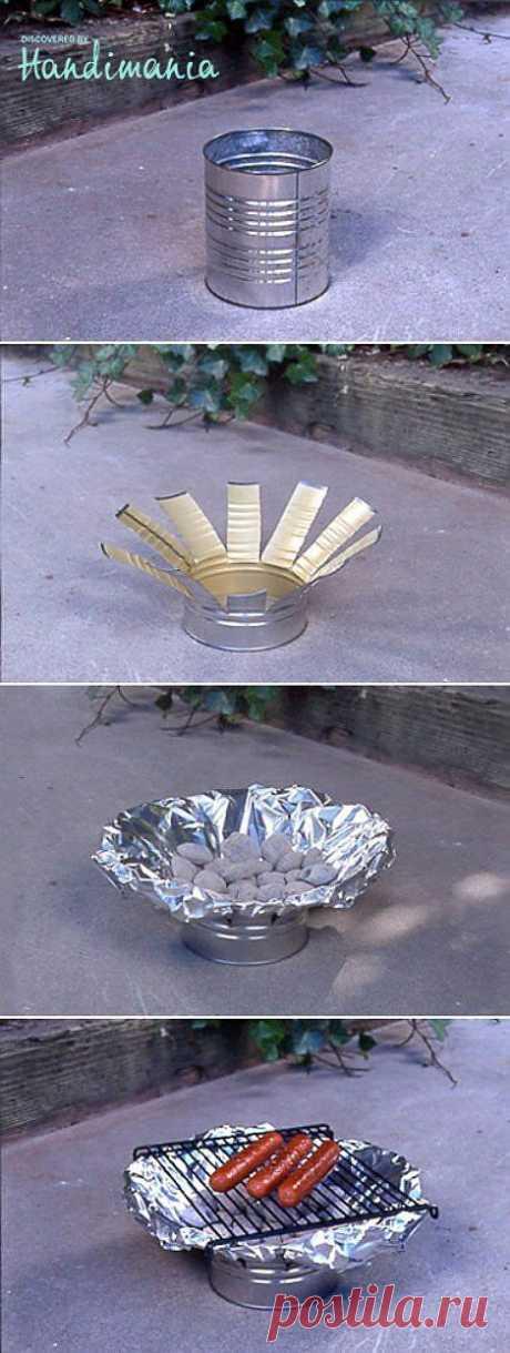 El grill improvisado para la casa de campo y el picnic