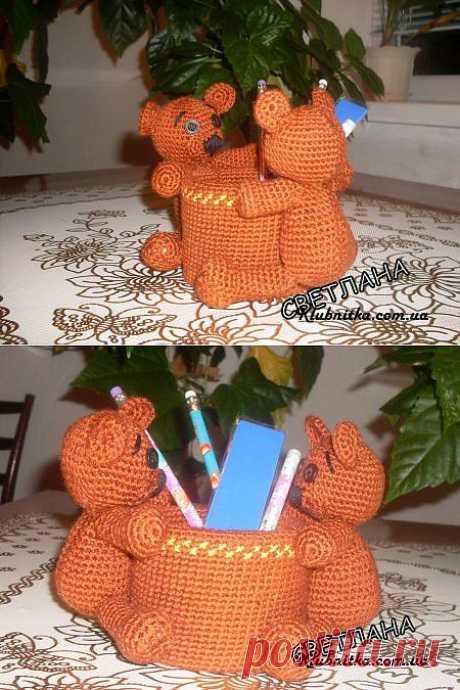 """Подставка под карандаши """"Мишки"""" » Клуб-Нитка - вязание спицами и не только"""