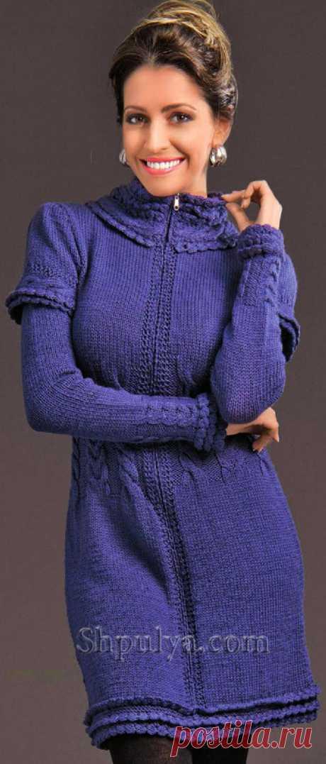 Платье на молнии спицами с отделкой крючком