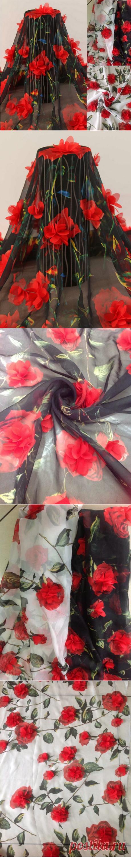 f880ff4e3bb 3D Розовыми Цветами Вышивка Шифон Кружевной Ткани
