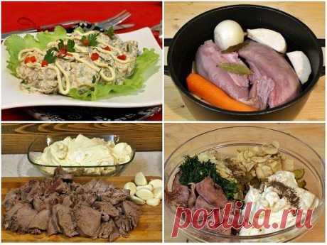 Салат с языком и грибами  Простой рецепт салата с вареным свиным языком, маринованными шампиньонами, солеными огурчиками, зеленью и чесноком. Отлично подойдет для праздничного стола.