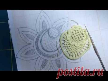 Видеоурок № 16/1 ИРЛАНДСКАЯ КРОШЕТКА Как вязать с рисунком. Вязание крючком цветка с рисунка