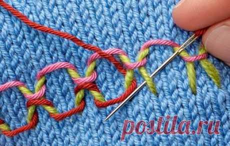 Приёмы украшения вязаного полотна вышивкой со схемами