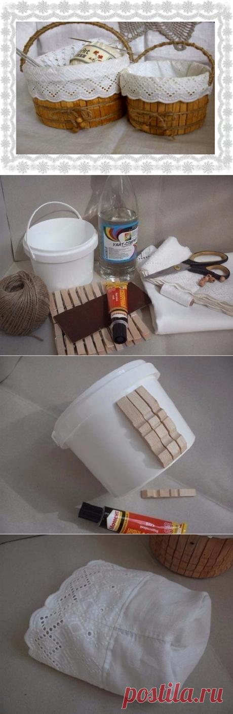 Как сделать пасхальную корзинку из майонезного ведерка