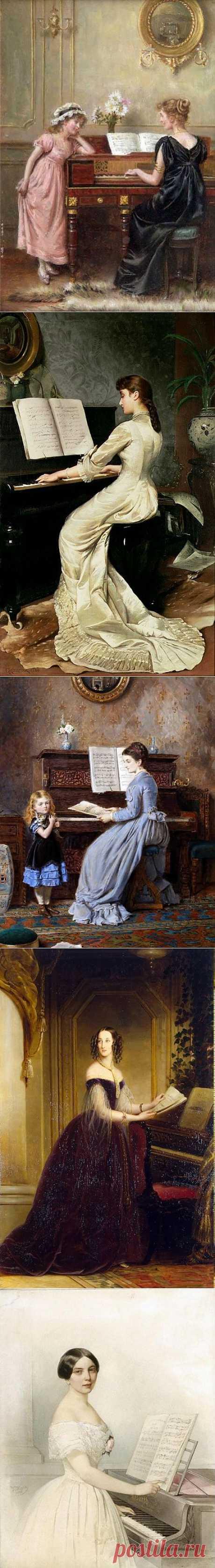 Леди за пианино. Живопись художников XVIII-XX веков.