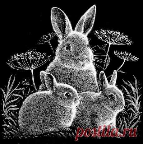 Схема вышивки «Кролики» - Вышивка крестом