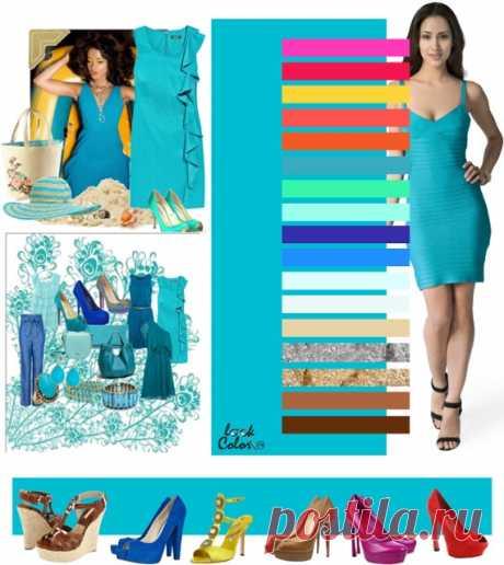 БИРЮЗОВО-СИНИЙ цвет (правильное сочетание цветов в одежде)   Рассмотрите сочетания цветов бирюзовый с ярко розовым, красной розы, желтой охры, розово коралловым, оранжевым, сине зеленым, холодным салатовым, аквамарином, фиолетовым, синим, бело голубым, белым, соломенно бежевым, серебряным, золотым, бронзовым, коричневым. Из украшений подойдет золото, серебро, жемчуг, топазы, янтарь, коралл, бирюза. Любые синие оттенки в камнях приветствуются.