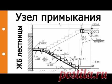 Опирание железобетонной (жб) лестницы на плиты перекрытия (ПК, ПБ)